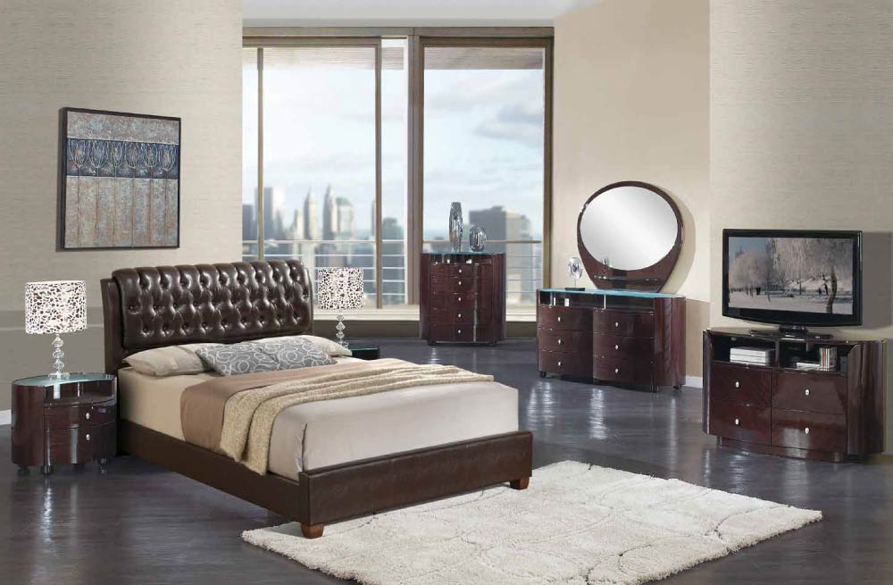 emily bedroom set.  Global Furniture 8119 EMILY W Brown Emily Wenge Bedroom Set