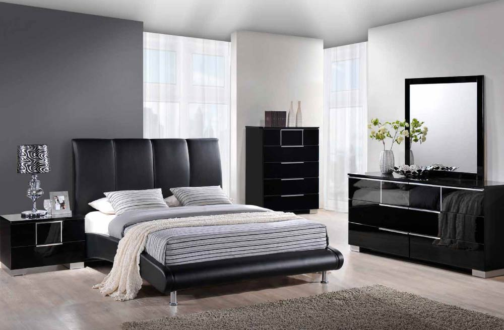 Global Furniture 8272 BL Black PU Bed. Furniture 8272 BL Black PU Bed