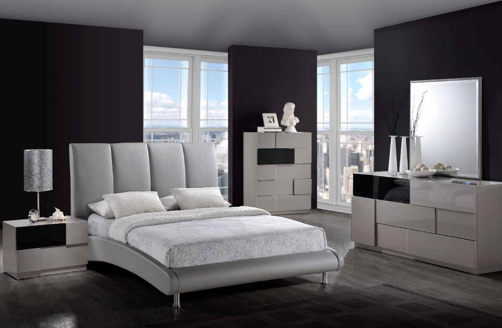 Global furniture 8272 gr bianca grey bianca bedroom set for Gray bedroom furniture sets