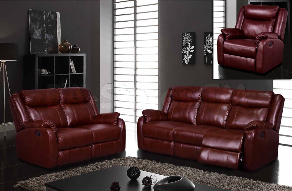 Global Furniture Burgundy Reclining Sofa, Reclining Loveseat ...