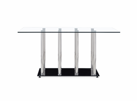 Global Furniture D368DT (M) DINING TABLE CLEAR/BLACK/CHROME