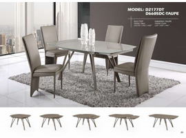 GLOBAL FURNITURE EXPENDABLE DINING TABLE TAUPE GLASS TOP