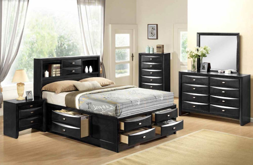 Global furniture linda black bedroom set for Z bedroom furniture