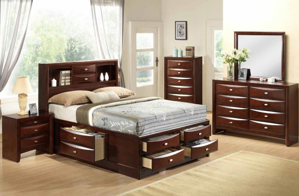 Global Furniture Linda Mahogany Bedroom Set