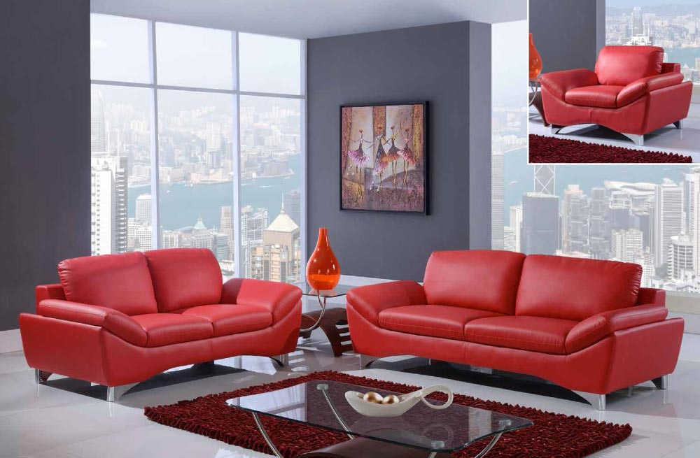 Global Furniture Natalie Red Sofa, Loveseat and Chair