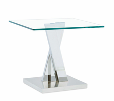Global Furniture T2056E END TABLE CLEAR GLASS/STAINLESS STEEL