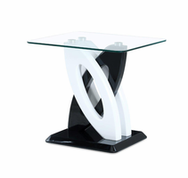 Global Furniture T792E END TABLE WHITE + BLACK HG / FAUX MARBLE TOP
