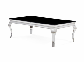 Global Furniture T858C COFFEE TABLE BLACK GLASS/POLISHED STAINLESS STEEL