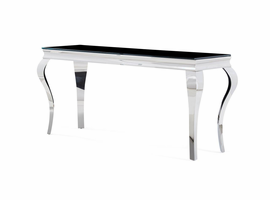 Global Furniture T858CNS CONSOLE TABLE BLACK GLASS/POLISHED STAINLESS STEEL