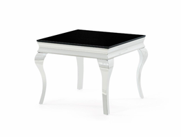 Global Furniture T858E END TABLE BLACK GLASS/POLISHED STAINLESS STEEL