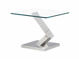 Global Furniture T987E END TABLE Clear Glass/Polished Stainless Steel