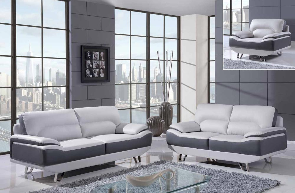 Global furniture u7330 lgr dgr light grey black sofa for Black and grey sofa
