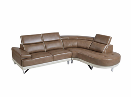Global Furniture U7730 - SECTIONAL (M) 2PC SECTIONAL PLUTO WALNUT/PLUTO PEARL PLUTO WALNUT/PLUTO PEARL