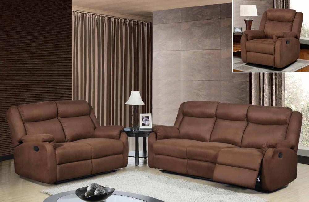 Global Furniture U8303 S 022 Chocolate Reclining Sofa, Reclining Loveseat  And Glider Recliner