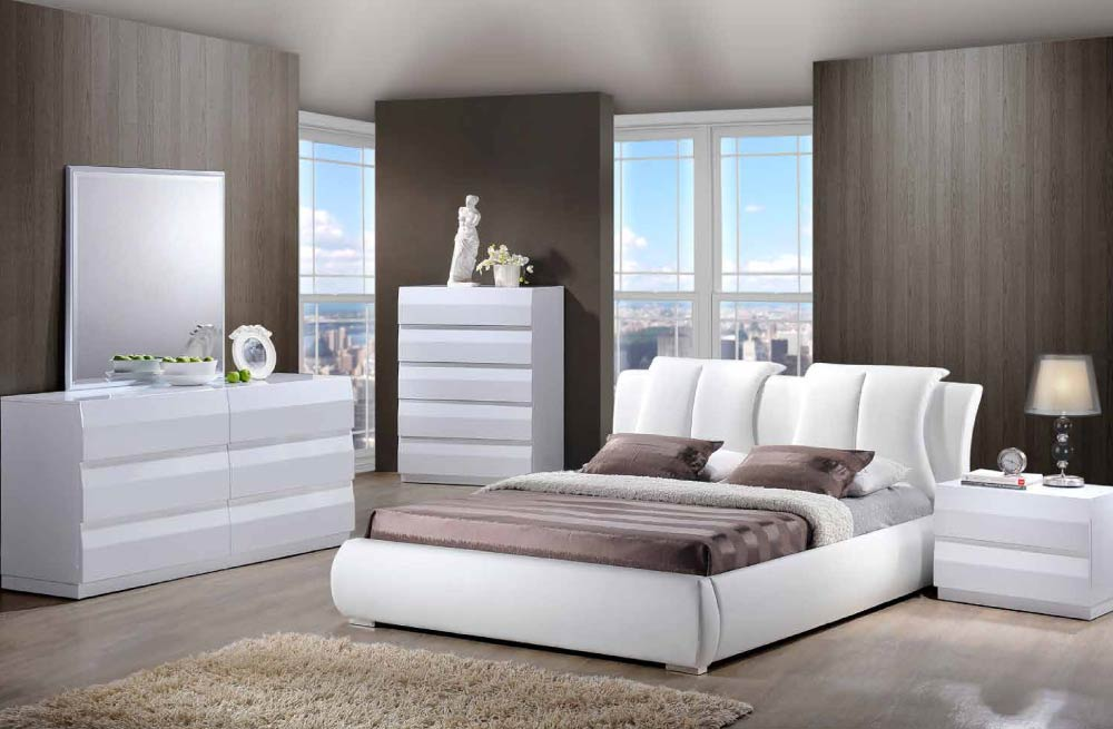 Global furniture white pu bed for Bedroom furniture usa
