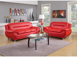GLOBAL TRADING BONDED LEATHER SOFA IN RED
