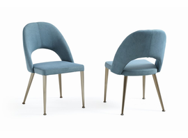 Gloria - Modern Blue & Antique Brass Dining Chair (Set of 2)