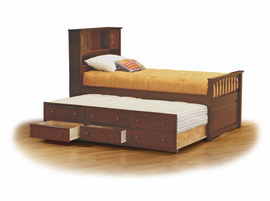 Hardwood Captain's Bookcase Bed with 4 Drawer Underbed Chest