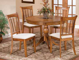 Hillsdale Bayberry 5-Piece Wicker Round Dining Table Set in Oak