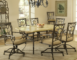 Hillsdale Brookside 7-Piece Rectangle Dining Set in Brown Powder Coat