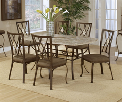 Hillsdale Brookside Rectangle Fossil Table with Diamond Back Chairs - 5 Piece Dining Set in Brown Powder Coat