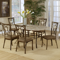Hillsdale Brookside Rectangle Fossil Table with Oval Back Chairs - 5 Piece Dining Set in Brown Powder Coat