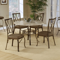 Hillsdale Brookside Round Fossil Table with Diamond Back Chairs - 5 Piece Dining Set in Brown Powder Coat