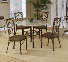 Hillsdale Brookside Round Fossil Table with Oval Back Chairs - 5 Piece Dining Set in Brown Powder Coat