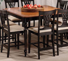 Hillsdale Embassy Rubbed Black Table with 8 Stools