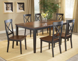 Hillsdale Englewood Rectangle Rubbed Black with Brown Cherry Extension Table