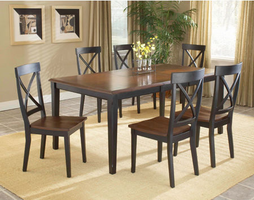 Hillsdale Englewood Rubbed Black with Brown Cherry Dinind Room Set