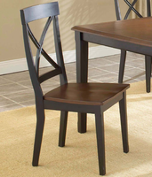 Hillsdale Englewood Rubbed Black with Brown Cherry X-Back Side Chair - Set of Two