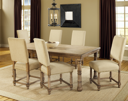 Hillsdale Hartland 7 Piece Dining Set in Light Washed Oak - Table with 4 Side & 2 Arm Chairs