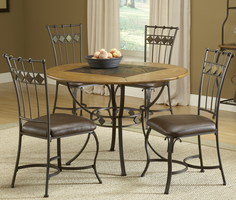 Hillsdale Lakeview 5-Piece Round Dining Set with Slate Chairs in Brown/ Medium Oak