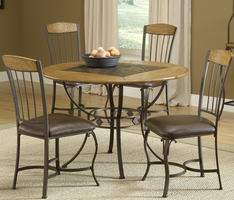 Hillsdale Lakeview 5-Piece Round Dining Set with Wood Chairs in Brown/ Medium Oak