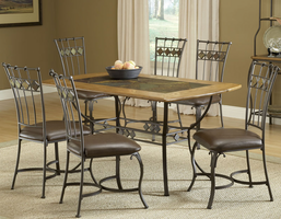 Hillsdale Lakeview 7-Piece Rectangle Dining Set with Slate Chairs in Brown/ Medium Oak