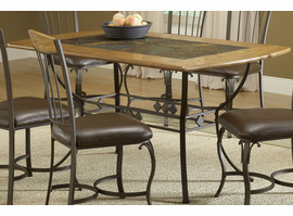 Hillsdale Lakeview Rectangle Dining Table Metal Legs and Slate Shelf in Brown/ Medium Oak
