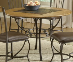 Hillsdale Lakeview Round Dining Table Metal Legs and Slate Shelf in Brown/ Medium Oak