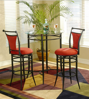 Hillsdale Mix and Match Black Pub/Bistro Set with Cierra Stools