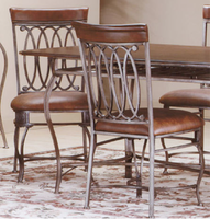 Hillsdale Montello Old Steel with Brown Faux Leather Dining Chairs - Set of Two