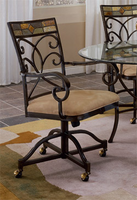 Hillsdale Pompei Black Gold with Slate Mosaic Caster Dining Chairs - Set of Two