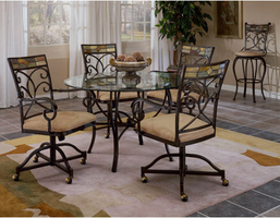 Hillsdale Pompei Black Gold with Slate Mosaic Dining Room Set with Caster