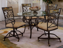 Hillsdale Pompei Black Gold with Slate Mosaic Dining Table