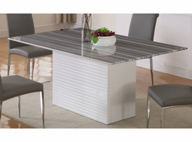 Chintaly Imports Brianna Marble Top  White Base Dining Table