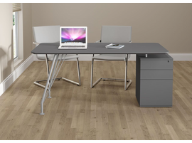 Ideaz International 18600 Grey Steel and Wood Home Office Rectangular Desk with Drawer Cabinet