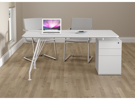 Ideaz International Home Office White Rectangular Desk with Drawer Cabinet