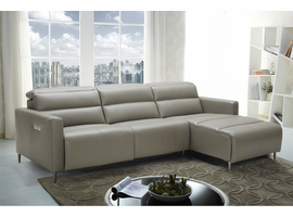 J & M Dylan Premium Leather Motion Sectional in Right Hand Facing Chaise