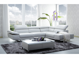 J & M Furniture 1717 Italian Leather Sectional Right Hand Facing