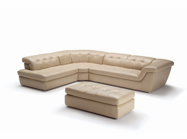 J & M Furniture 397 Italian Leather Sectional Beige Color In Left Hand Facing