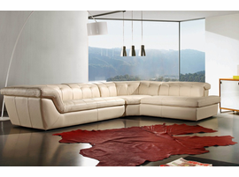 J & M Furniture 397 Italian Leather Sectional Beige Color Right Hand Facing